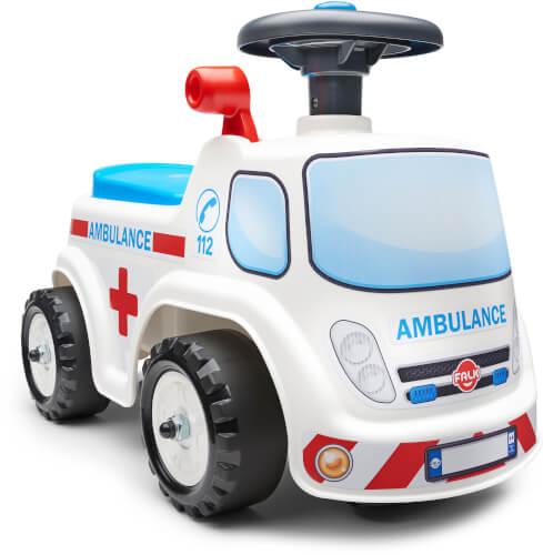 Falquet Ambulanz ride-on, mit Sitz zum öffnen und Lenkrad mit Horn