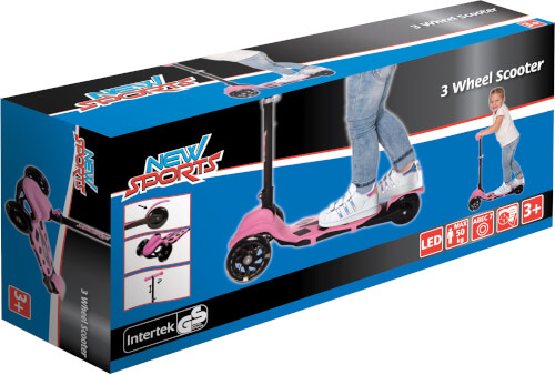 New Sports 3-Wheel Scooter Rosa, 120 mm, ABEC 7
