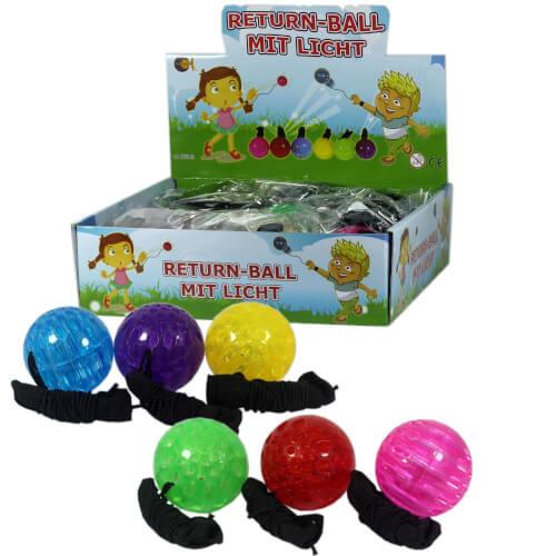 Returnball mit Licht, 6-fach sortiert