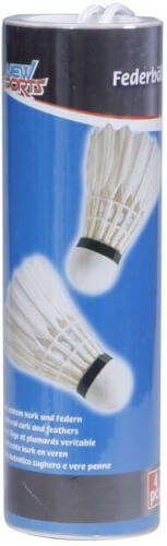 New Sports Badminton-Bälle mit Federn, 4 Stück in Dose