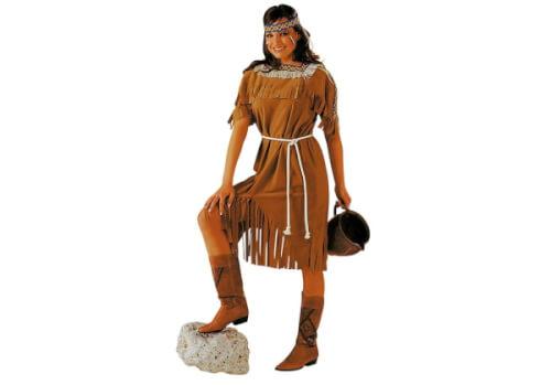 Indianerin: Kleid und Kordel braun 46/48