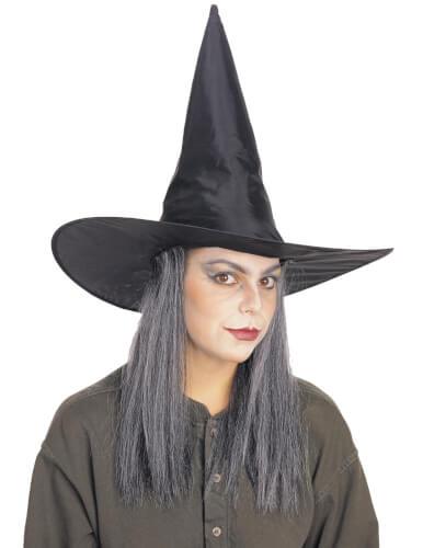 Hexenhut mit grauen Haaren schw. STD