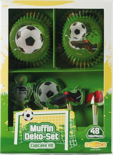 Fußball Muffin Deko Set 48-teilig (24 Förmchen & 24 Piker)