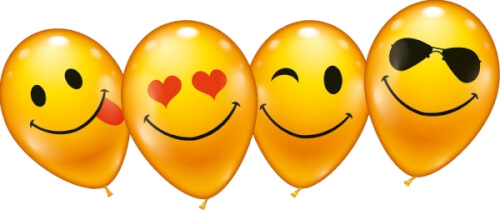 Ballons What`s Smile 8 Stück, Umfang 75-80cm