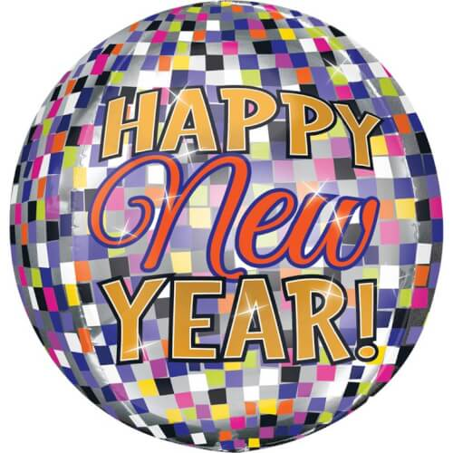 Orbz Happy New Year Discokugel Folienballon G20 verpackt