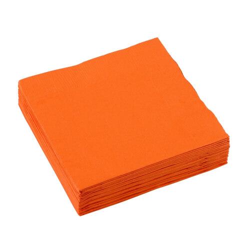 20 Servietten  orange 25 x 25 cm