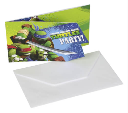 6 Einladungskarten Teenage Mutant Ninja Turtles mit Umschlägen
