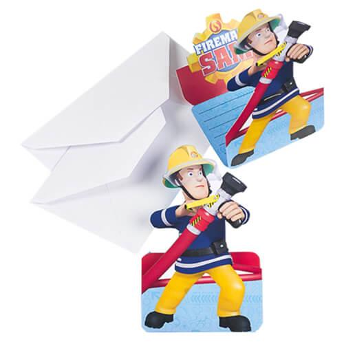 8 Einladungskarten Fireman Sam mit Umschlägen