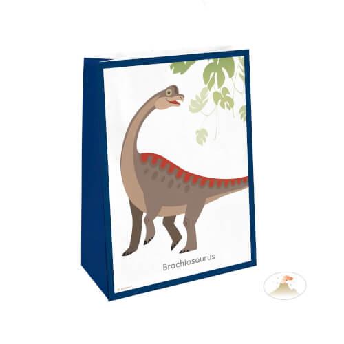 4 Papiertüten mit Sticker Happy Dinosaur