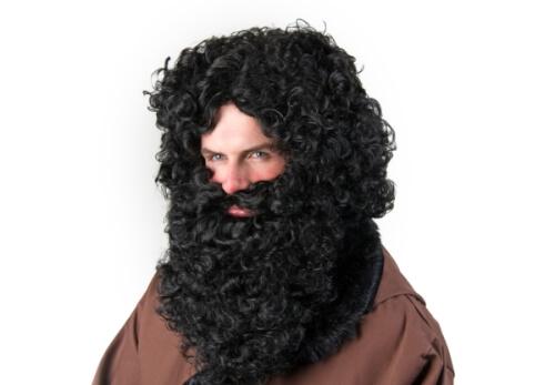 Set: Bart und Perücke, schwarz