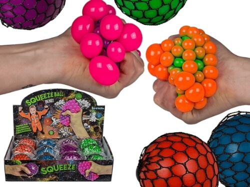 Squeezy-Ball im Netz 7cm, 4-farbig sortiert