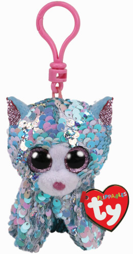 TY WHIMSY BLUE CAT FLIPPABLE - CLIP