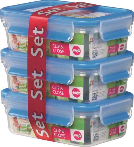 Emsa 508570 CLIP & CLOSE Frischedose 3er Set 2.0, 0,55 l