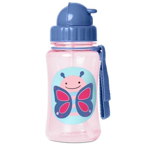 Skip Hop Zoo Straw Bottle Butterfly - Trinkflasche mit Trinkhalm, Schmetterling