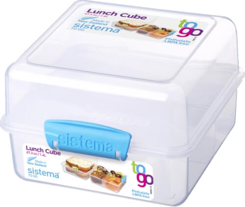 Sistema Lunch Cube To Go, 1,4 l, 3-fach unterteilt, blau