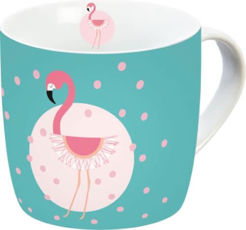 Flamingo Tasse Türkis+Punkte
