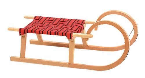 Holzrodel 90 cm mit variierender Gurtfarbe