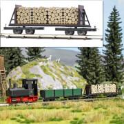 H0 Flachwagen mit Holzladung