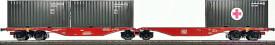 H0 Gelenk-Containertragwagen Bauart Sggrss 80 der DBAG, Epoche 5/6, beladen mit 2 x 20ft Container der Bundeswehr