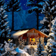 Winterhütte mit Beleuchtung