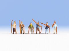 H0-Skifahrer, 6 Figuren
