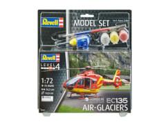 REVELL 64986 Modellbausatz EC135 Air-Glaciers mit Basisfarben 1:72, ab 12 Jahre