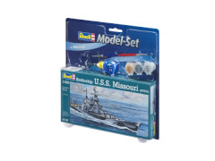 REVELL 65128 Modellbausatz Battleship USS Missouri 1:1120 mit Basisfarben, ab 10 Jahre