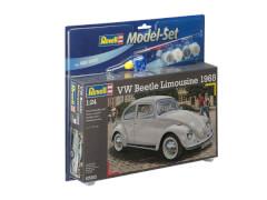 REVELL 67083 Modellbausatz VW Beetle Limousine 1968 mit Basisfarben 1:24, ab 10 Jahre