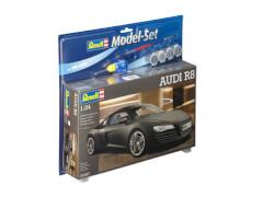 REVELL 67057 Modellbausatz AUDI R8 schwarz mit Basisfarben 1:24, ab 10 Jahre