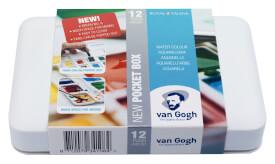 Van Gogh Basiskasten Aquarellfarben mit 12 Farben in Halbschalen