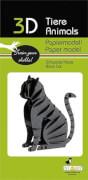 fridolin - 3D Papiermodell - Katze, schwarz, Spezialkarton, gelasert