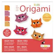 fridolin - Kids Origami Katze, 20 Blätter 15cm x 15cm