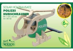 Weico Holzbausatz Solarantrieb Polizeihubschrauber, ca. 8x12x6,6 cm, ab 6 Jahren