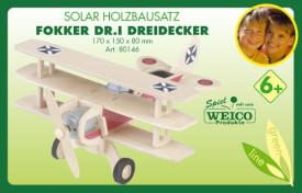 Weico Holzbausatz Solarantrieb Fokker Dreidecker Roter Baron