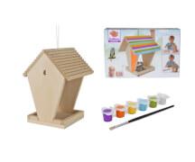 HEROS Eichhorn Bausatz Outdoor-Holz-Futterhaus inkl. Farben und Pinsel, ca. 9x31x20 cm, ab 6 Jahre