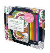 TOPP - Kreativ-Set Zencolor mit 6 Filzstften - Buch m. 40 Ausmalmotiven