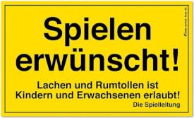 CORVUS Kids at Work - Schild ''Spielen erwünscht!'', PVC, ca. 25x15 cm, gelb