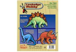 Weico Laubsägevorlage 3er Set - Dinosaurier, ca. 230x185x3,5 mm, ab 6 Jahren
