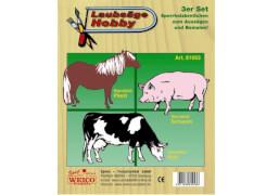 Weico Laubsägevorlage 3er Set - Bauernhoftiere Pferd, Kuh, Schwein