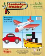 Weico Laubsägevorlage 3er Set - Auto, Flugzeug, Schiff