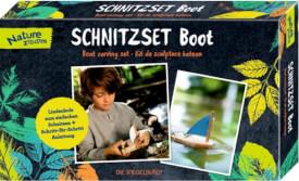 Die Spiegelburg - Schnitzset Boot Nature Zoom, Handwerk-Set, ab 6 Jahren, aus Lindenholz