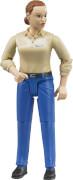 Bruder 60408 Frau mit hellem Hauttyp und blauer Hose, ab 4 Jahren, Maße: 10,9 x 4,6 x 1,3 cm, Plastik & Kunststoff