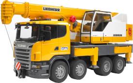 Bruder 03570 Scania R-Serie Liebherr Kran-LKW mit Licht und Sound, ab 4-8 Jahren, Maße: 62 x 18,5 x 26,9 cm, Plastik & Kunststof