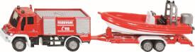 SIKU 1636 SUPER - Unimog Feuerwehr mit Boot, 1:87, ab 3 Jahre