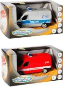 Speed Zone Polizei oder Feuerwehr-Van, Licht & Sound, Rückzug, 1:43, ab 3 Jahren