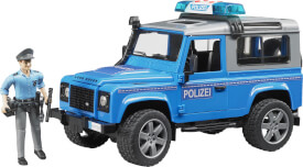 Bruder 02597 Land Rover Station Wagon Polizeifahrzeug, ab 3 Monaten, Maße: 35,6 x 15,2 x 17,8 cm, Kunststoff