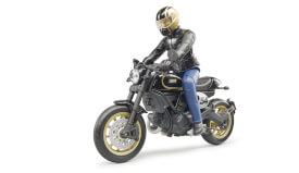 Bruder 63050 Scrambler Ducati Cafe Racer mit Fahrer, Maße: 18,9 x 4,4 x 15,2 cm, Kunststoff, ab 4 Jahre