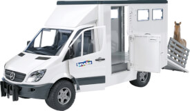 Bruder 02533 MB Sprinter Tiertransporter inklusive Pferd, Maße: 45,5 x 17 x 22,1 cm, Kunststoff, ab 3 Jahre