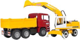 Bruder 02751 MAN TGA Kipper und Liebherr Schaufelbagger, ab 3 Jahren, Maße: 41,5 x 17,5 x 21,5 cm, Kunststoff