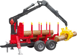 Bruder 02252 Rückeanhänger mit Ladekran plus Zubehör, ab 4 Jahren, Maße: 46,5 x 18,5 x 26 cm, Kunststoff